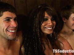 Ts Bombshell Yasmin Lee takes the ass and throat virginity of two cute frat guys in a local sports bar.