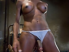 Ts Natassia reams her bound guy into submission with her cock