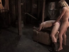 TS Jesse face fucks bound Devin, tied up and ass fucked.