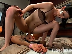 TS Mandy Mitchell pins, fucks and pops in the mouth of an unknowing guy who is shocked by her hard cock.