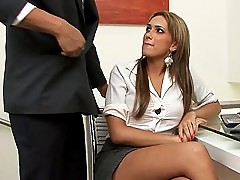 Sexy tgirl secretary gets banged at work